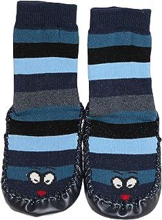 Tobeni, 1 Par de Cabanas Zapatos Calcetines de Casa con Suela de Cuero y Rayas para Ninos