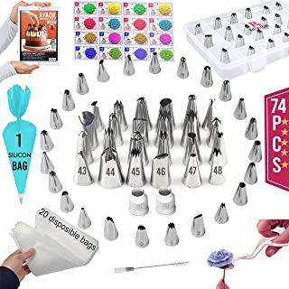 74 PCs Piping Bags and Tips-48 Numbered Piping Tips & Pastry bag with Pattern Chart & EBook- Flower Lifter &Nail, Frosting...