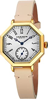 Akribos XXIV Octagonal Women's Watch - Textured Dial Arabic Numerals, 60-Second Subdial On Calfskin Leather Strap - AK771