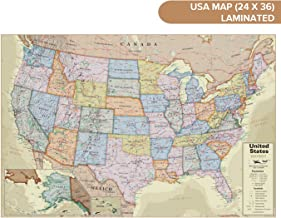 Waypoint Geographic USA Wall Map Antique Ocean (24