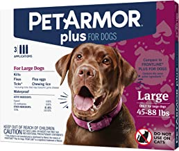 PETARMOR Plus for Dogs Flea and Tick Prevention for Large Dogs (45-88 Pounds), Long-Lasting & Fast-Acting Topical Dog Flea Treatment