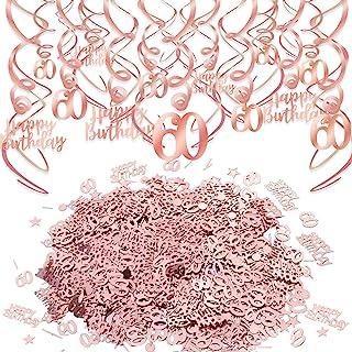 Konsait Rose Gold 60th Birthday Decorations for Women and Girl Bday Decor Hanging Swirls 60 Happy Birthday Confetti (30g) ...