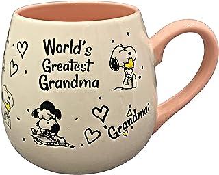 Peanuts Gang Lucy & Snoopy Stoneware Coffee Mug Cup inscribed WORLD'S GREATEST GRANDMA