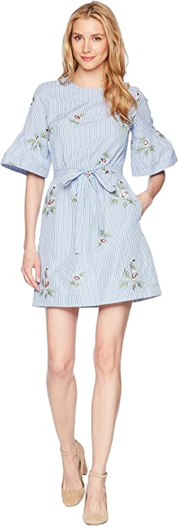 Embroidered Cotton Dress with Short Bell Sleeve and Self Tie Belt