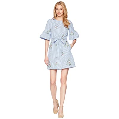 Donna Morgan Embroidered Cotton Dress with Short Bell Sleeve and Self Tie Belt (Blue/White Stripe) Women