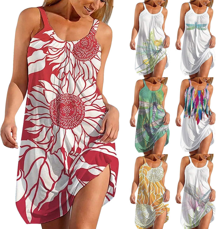 Qunkii Casual Summer Dresses for Women Beach, Floral Sundress Sleeveless Boho Crew Neck Dress Sexy Swing Mini Dresses