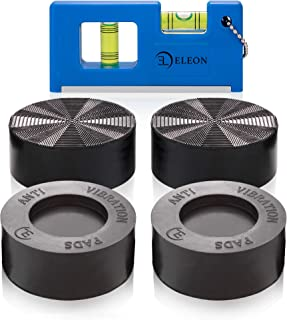 Anti Vibration Pads with Tank Tread Grip, 4 Pads + Level - Washer & Dryer Pedestals Fit All Machines - Noise Dampening, Pr...