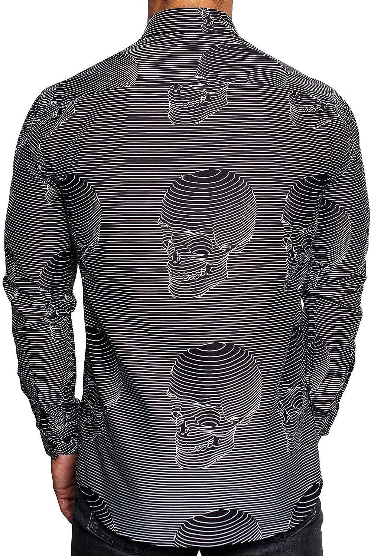Maceoo Mens Designer Dress Shirt LS - Stylish & Trendy - Fibonacci Skull Line Black - Shaped Fit