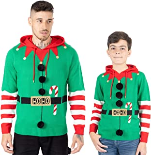 NOROZE Men's Boys Christmas Jumper Hoodie Unisex Elf Hoho Candy Cane 3D Knitted Pullover Kids Family Xmas Matching Top