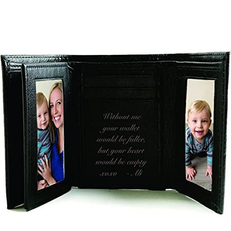 Stamped Black /& White Handmade Small Wallet Size Picture Frame Leather
