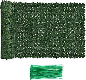 Faux Ivy Privacy Fence Screen Outdoor Expandable Artificial Greenery Roll Fake Hedge Wall Patio Green Plastic Leaf Plant Vine Grass Panels Gate Covering for Garden Yard Balcony (98.4 X 39.4 in)