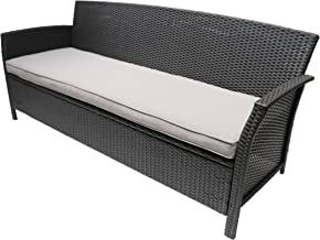 Great Deal Furniture Auguste Outdoor Wicker 3 Seater Sofa, Gray