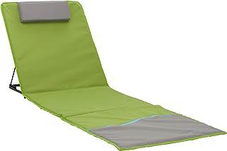Meerweh Strandmatte XXL mit Lehne Strandliege Isomatte Picknickdecke ca. 200x60cm Tumbona, Tela, Verde/Gris, 200 x 60 x 68 cm
