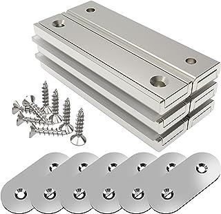 Magnetpro 6 stuks rechthoekige magneten 30 kg kracht 60 x 13,5 x 5 mm met tegenstukken en verzonken gat, huishoudelijke en...