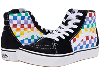 Vans Kids ComfyCush SK8-Hi (Little Kid) ((Checkerboard) Rainbow/True White) Girl