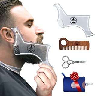Manecode Beard Shaping Tool - Grooming Kit for Men - Lineup Guide, Shaper Template, Scissors and Amoora Wood Comb in a Waterproof Hygiene Travel Bag