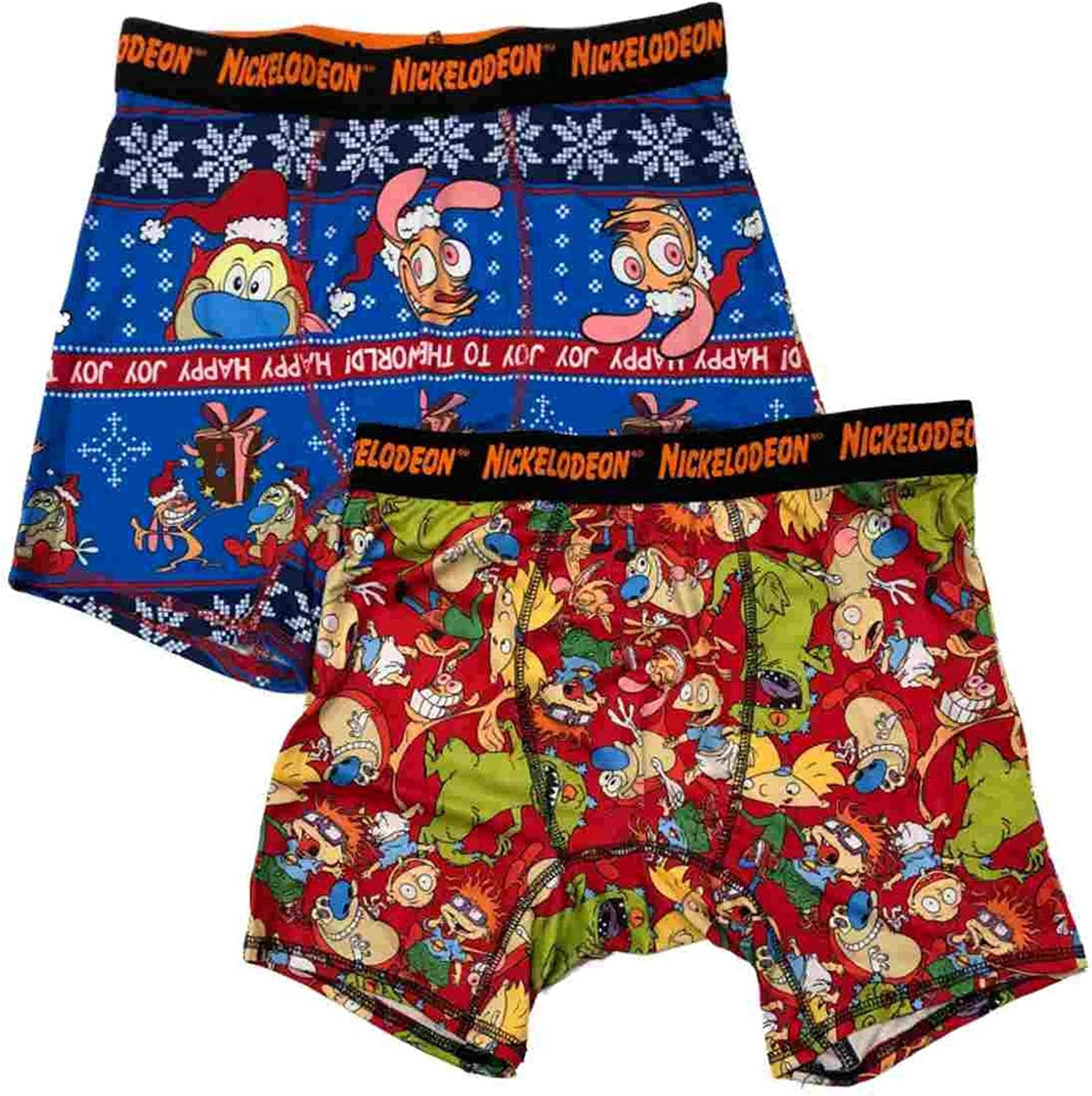 Briefly Stated Mens 2 Pack Nick Rewind Rugrat Christmas Holiday Boxer Briefs