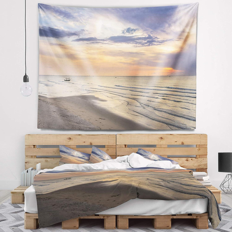 Designart 'Calm Sunset in Thailand Beach' Spring new Long-awaited work Tapestry Landscape Bla