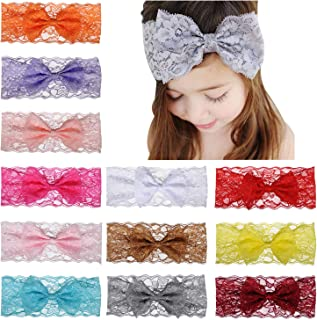 12pcs Baby Girls Lace Headbands Hairbands Hair Bow Stretchy Bands Hair Accessories for Toddler Girls Kids Infants