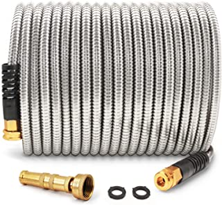 Cesun 50 Feet 304 Stainless Steel Metal Garden Hose with Solid Brass Nozzle, Lightweight..