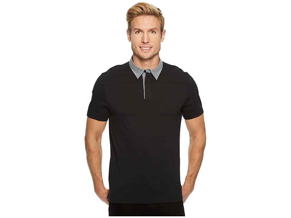 Perry Ellis Heathered Collar Pima Cotton Polo (Black) Men