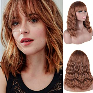 DEYNGS Fashion Short Wavy Wigs With Flat Bangs Natural Black Synthetic Full Wigs For Women None Lace Wigs That Look Real H...
