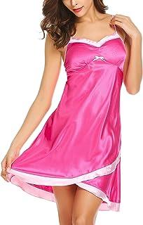 a2e982bd7ff wearella Women s Valentine s Satin Nightgowns Sexy Lingerie Full Slip  Sleepwear Dress