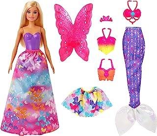 Barbie GJK40 Dreamtopia Cadeauset met Verkleedpop (Blond), 32 cm, met 3 Outfits, Vanaf 3 Jaar