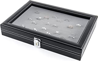 JackCubeDesign Jewelry Ring Display Organizer Storage Box Case Tray Holder with 100 Slot Ring Display and Glass Cover(Black, Inside Gray Velvet, 13.3 x 9.3 x 2.1 inches)- :MK376C