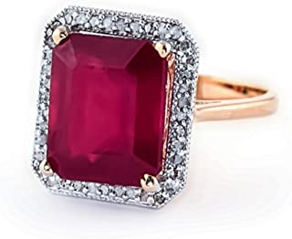 Galaxy Gold 7.45 Carat 14k Solid White Rose Yellow Gold Emerald Cut Octagon Shape Natural Ruby Halo Design with Natural Diamond Ring - Anniversary, Promise, Engagement Ring, Sizeable for her.