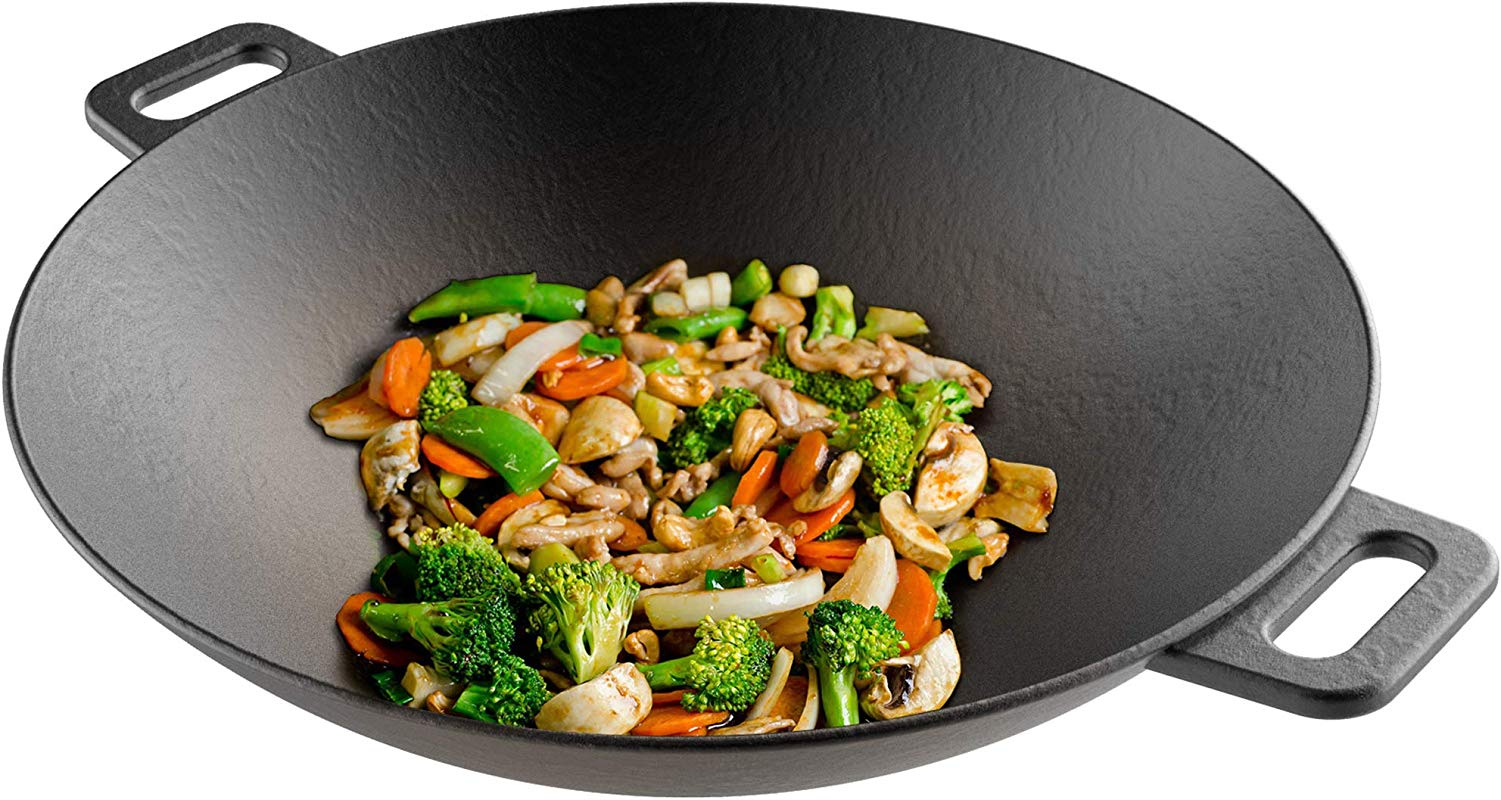 Cast Iron Wok 14 Pre Seasoned Flat Bottom Cookware With Handles Compatible With Stovetop Oven Induction Grill Or Campfire By Classic Cuisine