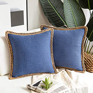 Phantoscope Pack of 2 Farmhouse Decorative Throw Pillow Covers Burlap Linen Trimmed Tailored Edges Navy Blue 18 x 18 inche...
