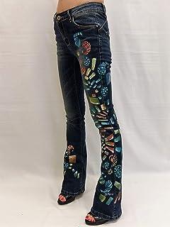 9a8eb894ec0 Jeans mujer a pata efecto push up vaqueros acampanados pintado de cintura  baja