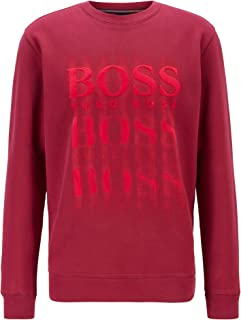 BOSS Mens WBlurry Relaxed-fit Sweatshirt in French Terry with Blurred Logo Print