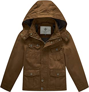 WenVen Boy's and Girl's Cotton Jackets with Removable Hood