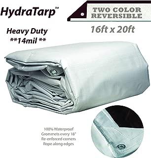 HydraTarp 16ft X 20ft Heavy Duty Waterproof Tarp - 14mil Thick - White/Brown Reversible Tarp