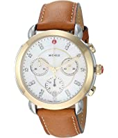 Michele - Sidney Two-Tone and Saddle Leather Diamond Dial Watch