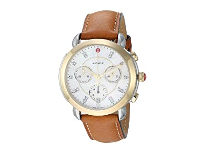 Michele Sidney Two-Tone and Saddle Leather Diamond Dial Watch (Saddle/Two-Tone) Watches
