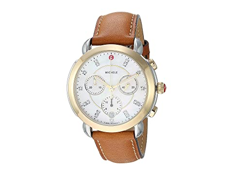 Michele Sidney Two-Tone and Saddle Leather Diamond Dial Watch
