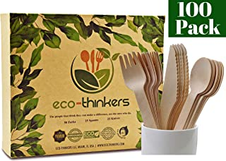 ECO-THINKERS Premium Disposable Wooden Cutlery Set. Our Wooden Utensils are Eco friendly Biodegradable Compostable & The Best Alternative to Plastic Silverware 100 Pcs of Wooden Spoons Knives & Forks