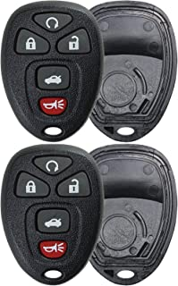 KeylessOption Keyless Entry Remote Key Fob Shell Case Button Pad Cover for Chevy Impala Monte Carlo Buick Lucerne Cadillac DTS OUC60270, OUC60221 (Pack of 2)