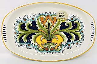 Made In Italy | Vibrant Green Blue Yellow Fleur De Lea Pattern On A White Ceramic Serving Plate | 11.5 inches x 7.25