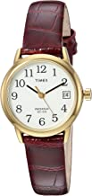 Timex Women Indiglo Easy Reader Quartz Analog Leather Strap Watch with Feature Date