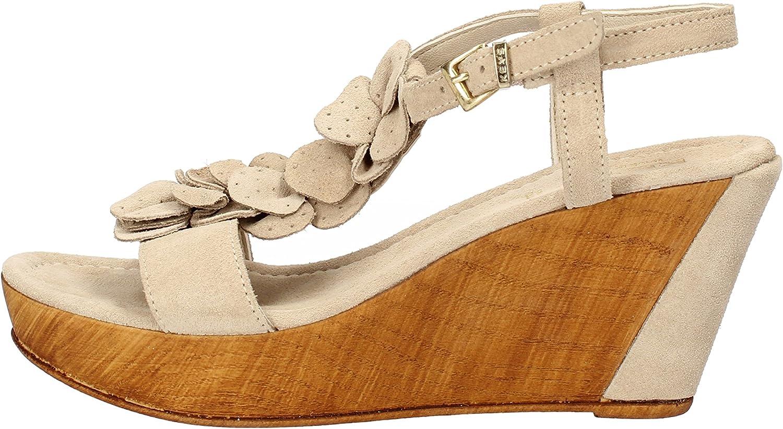 KEYS Wedges-Sandals Womens Suede Beige