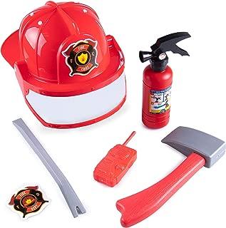 Hauntlook Firefighter Accessory Kit for Kids Costumes, Dress Up & Roleplay - Axe, Helmet