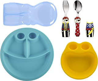 Eat4Fun Kids and Toddler Utensil Set - Pirate Fork & Spoon Plate and Bowl