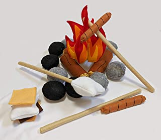 Campfire & Smores Deluxe 3D Felt Shapes Interactive Camping Play Set