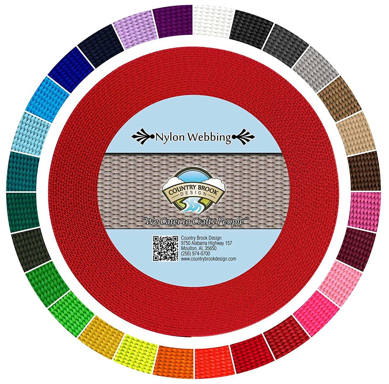 Country Brook Design | Durable 1 Inch Heavy Nylon Webbing | 29 Vibrant Colors
