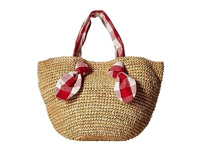 Loeffler Randall Hazel Straw Tote (Natural/Red) Tote Handbags