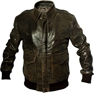 A2 Distressed Cowhide Leather Bomber Aviator Flight Jacket